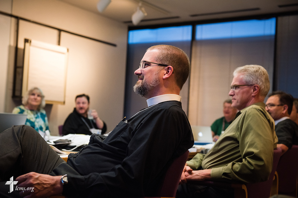 The Rev. David Mumme, pastor of Trinity Lutheran Church in Waterville, Minn.,  listens as fellow floor-committee members discuss a resolution during floor-committee weekend at the International Center of The Lutheran Church–Missouri Synod on Saturday, May 28, 2016, in Kirkwood, Mo. LCMS Communications/Erik M. Lunsford