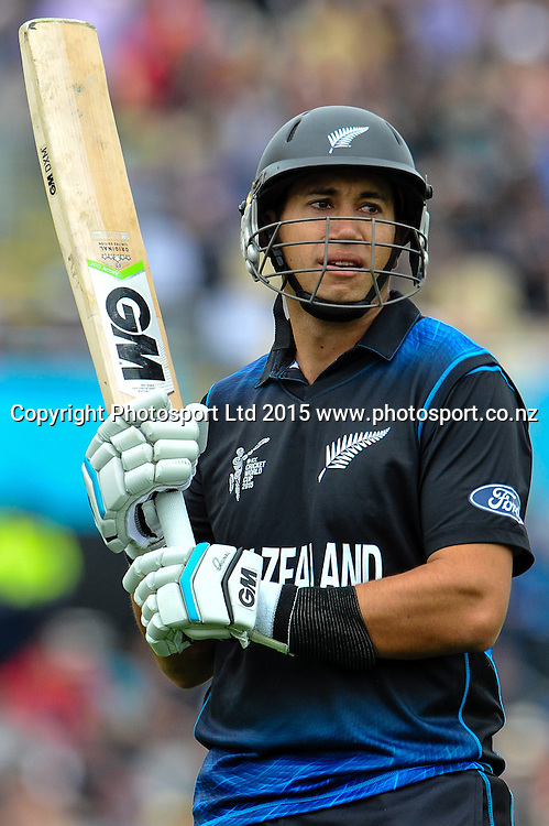Ross Taylor of the Black Caps batting during the ICC Cricket World Cup match between New Zealand and Sri Lanka at Hagley Oval in Christchurch, New Zealand. Saturday 14 February 2015. Copyright Photo: John Davidson / www.Photosport.co.nz