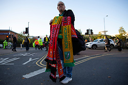 A scarf seller outside the ground - Mandatory by-line: Phil Chaplin/JMP - 27/10/2019 - FOOTBALL - Carrow Road - Norwich, England - Norwich City v Manchester United - Premier League