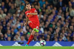 LONDON, ENGLAND - Friday, September 16, 2016: Liverpool's Dejan Lovren, with a black eye, in action against Chelsea during the FA Premier League match at Stamford Bridge. (Pic by David Rawcliffe/Propaganda)