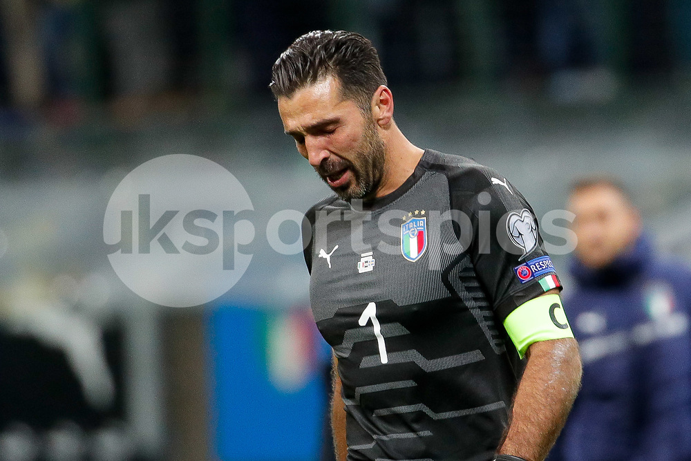 Gianluigi Buffon of Italy dejected following the 2018 World Cup Qualifying Play-Off match between Italy and Sweden at Stadio San Siro, Milan, Italy on 13 November 2017. Photo by Roberto Bregani.