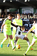 St Mirren forward Simeon Jackson (11) shields the ball from a defender during the Ladbrokes Scottish Premiership match between St Mirren and Hibernian at the Paisley 2021 Stadium, St Mirren, Scotland on 27 January 2019.