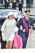 Queen Mathilde and King Philippe arrive on the Te Deum mass, on the occasion of today's Belgian National Day, at the Saint Michael and St Gudula Cathedral <br /> Brussels, 21 July 2015, Belgium