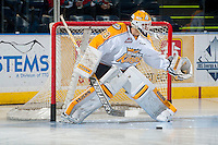 KELOWNA, CANADA - OCTOBER 25: Jordan Papirny #33 of Brandon Wheat Kings warms up against the Kelowna Rockets on October 25, 2014 at Prospera Place in Kelowna, British Columbia, Canada.  (Photo by Marissa Baecker/Shoot the Breeze)  *** Local Caption *** Jordan Papirny;