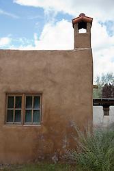 detail of an adobe church in Abiquiu, New Mexico