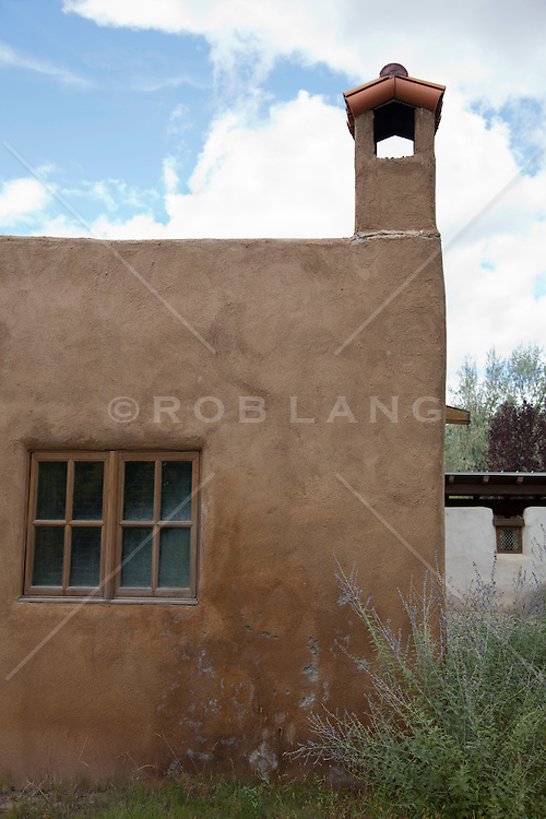 detail of an adobe church in Abiquiu, New Mexico