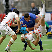 Rich De Carpentier was manhandled by Manu Samoa, out played England 21-5 at day 1 of the Canada 7's at BC Place, Vancouver, BC, Canada.  Photo by Barry Markowitz, 3/10/18, 4:00pm