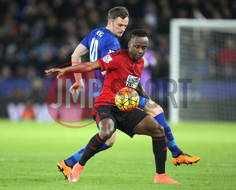 Saido Berahino of West Bromwich Albion and Andy King of Leicester City (L) in action - Mandatory byline: Jack Phillips/JMP - 01/03/2016 - FOOTBALL - King Power Stadium - Leicester, England - Leicester City v West Bromwich Albion - Barclays Premier League