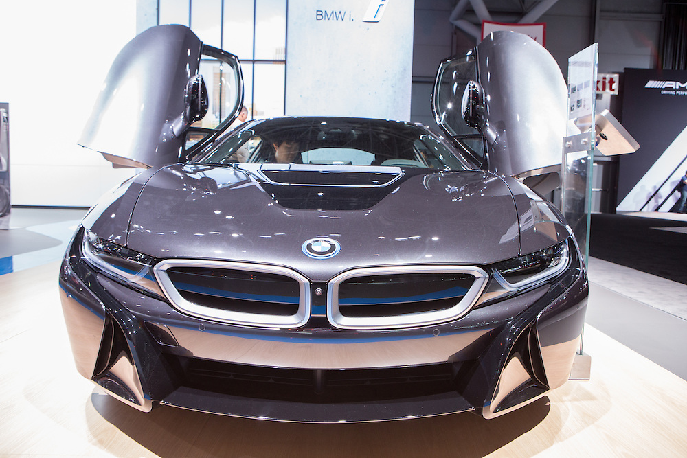 New York, NY, USA-23 March 2016. BMW i8, the luxury marque's plug-in hybrid, with it's gull-wing doors open.