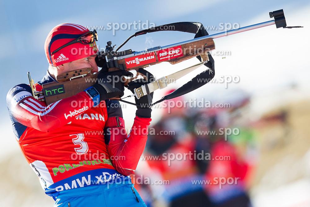 Evgeniy Garanichev (RUS) competes during Men 12,5 km Pursuit at day 3 of IBU Biathlon World Cup 2015/16 Pokljuka, on December 19, 2015 in Rudno polje, Pokljuka, Slovenia. Photo by Urban Urbanc / Sportida