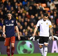 Valencia's Paco Alcacer and Atletico de Madrid´s Filipe Luis during 2015/16 La Liga match between Valencia and Atletico de Madrid at Mestalla stadium in Madrid, Spain. March 6, 2016. (ALTERPHOTOS/Javier Comos)