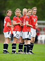 Norway players before corner kick. Norway-Sweden, WU17 Four Nation's Tournament. Eerikkilä, Finland, 25.5.2007. Photo: Jussi Eskola