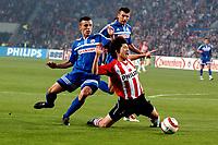 Fotball<br /> Kvalifisering til Champions League<br /> PSV Eindhoven v Røde Stjerne Beograd<br /> 25. august 2004<br /> Foto: Digitalsport<br /> NORWAY ONLY<br /> Ji-Sung Park felles av Aleksandar Lukovic