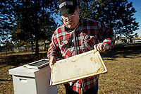 Evert Wilson shows off a reserve frame of honey Wednesday produced by his bees at his home in Dalton Gardens. Wilson began beekeeping after a prompting from his wife and now sells honey through the Farmers Market of Kootenai County.