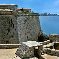 Promontory and Defense Wall of El Morro in Havana, Cuba <br />