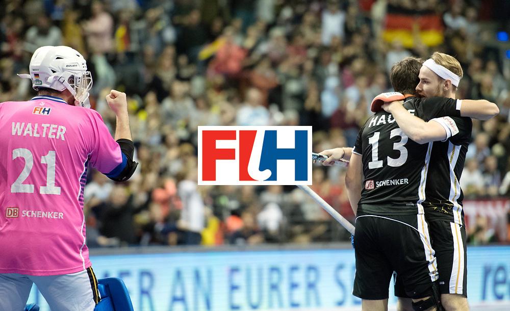 BERLIN - Indoor Hockey World Cup<br /> SF1 Germany - Iran<br /> foto: Tobias Walter (GK)  , Tobias Hauke and Christopher R&uuml;hr  <br /> WORLDSPORTPICS COPYRIGHT FRANK UIJLENBROEK