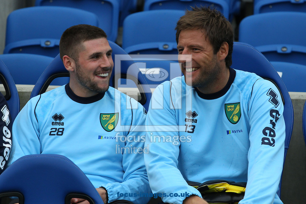 Picture by Paul Chesterton/Focus Images Ltd +44 7904 640267<br /> 30/07/2013<br /> Gary Hooper of Norwich and Carlo Nash of Norwich before the Pre Season Friendly match at the American Express Community Stadium, Brighton and Hove.