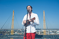 JULY 18 2013 Musician Robbie Boyd plays on top of the O2 Arena
