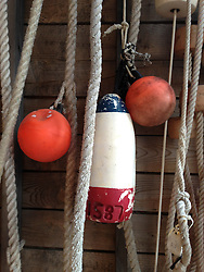 Buoys at Eaton's Boatyard, Castine, Maine, US