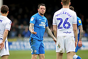 Peterborough Utd's Lee Tomlin (29) after he was fouled by Wycombe defender Jason McCarthy (26) during the EFL Sky Bet League 1 match between Peterborough United and Wycombe Wanderers at London Road, Peterborough, England on 2 March 2019.
