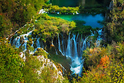 Travertine cascades on the Korana River, Plitvice Lakes National Park, Croatia