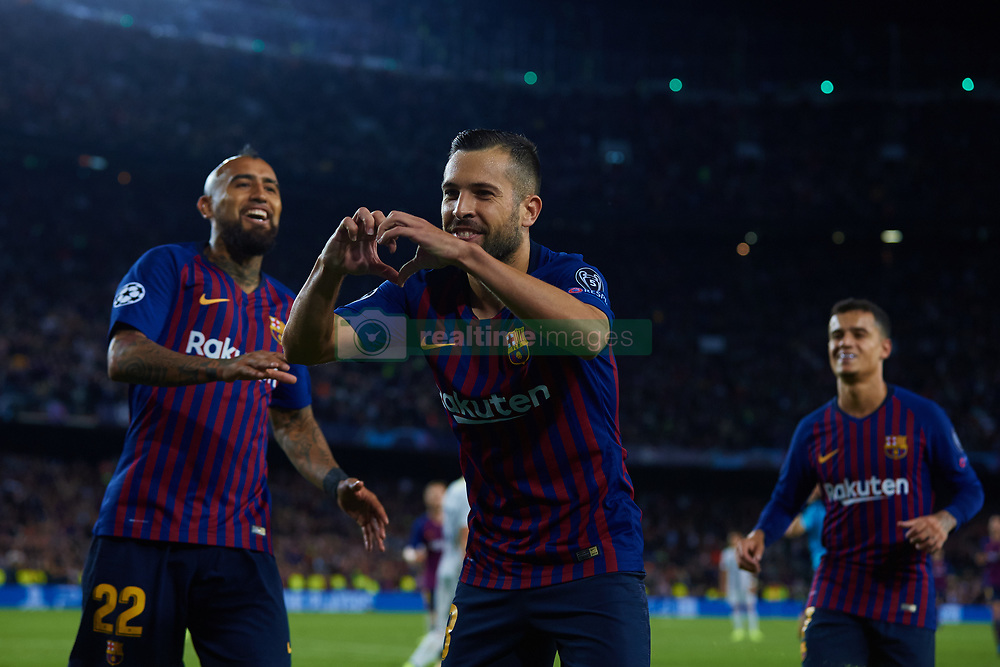 October 24, 2018 - Barcelona, Barcelona, Spain - Jordi Alba of FC Barcelona celebrates after scoring during the UEFA Champions League group B match between FC Barcelona and FC Internazionale  at Camp Nou on October 24, 2018 in Barcelona, Spain  (Credit Image: © Sergio Lopez/NurPhoto via ZUMA Press)