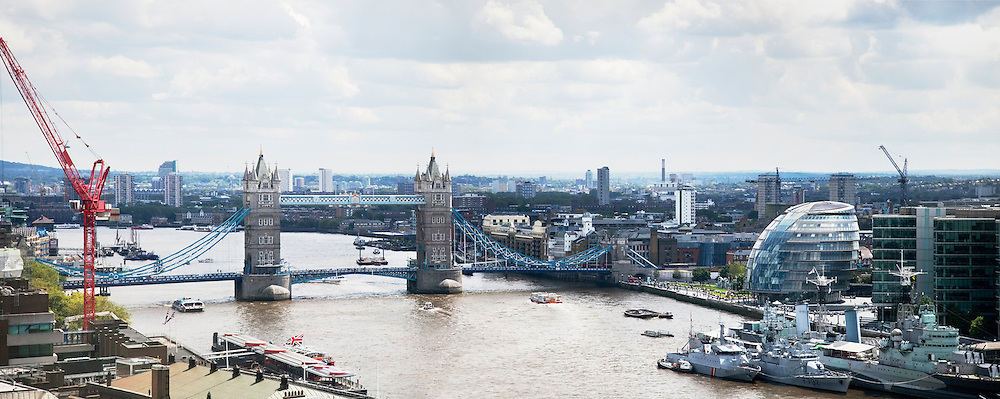Tower Bridge over River Thames and cityscape, London, England, UK