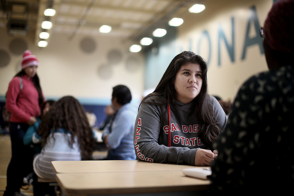 Rose, a Senior at the Monarch School, chats during lunch period in San Diego, CA on Friday, May 15, 2015.  The Monarch School is the largest elementary through High School facility that caters to students that are homeless or are have associations with homelessness.(Photo by Sandy Huffaker for The Atlantic)
