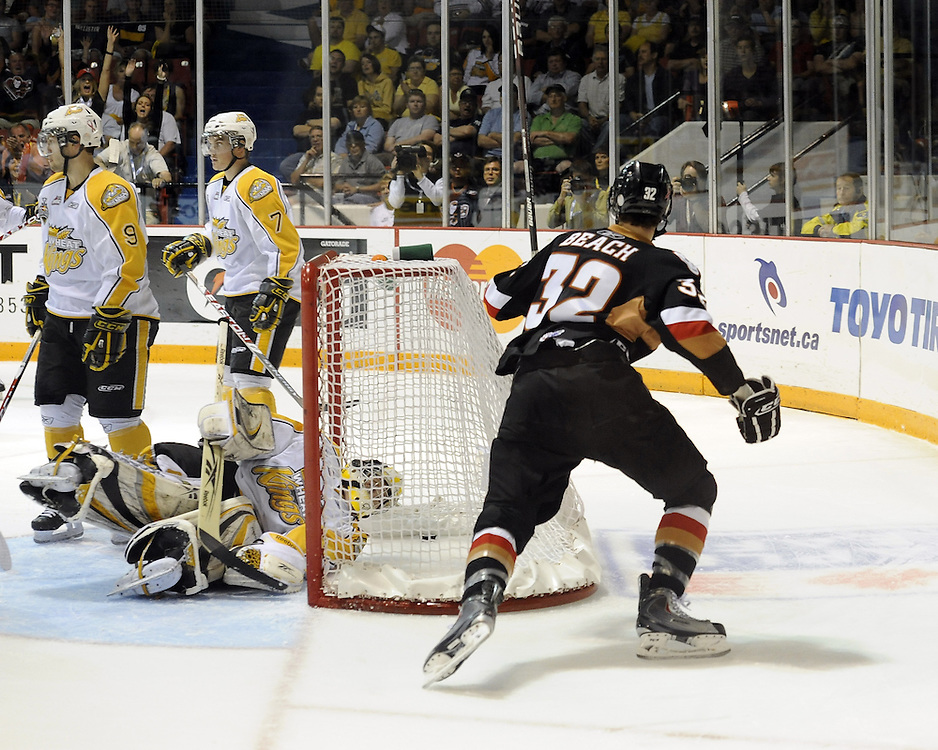 Cody Beach of the Calgary Hitmen celebrates a goal against the Brandon Wheat Kings in Game 6 of the 2010 MasterCard Memorial Cup in Brandon, MB on Wednesday May 19, 2010. Photo by Aaron Bell/CHL Images