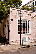 The pink tea room at St. Philip's Episcopal Church in the French Quarter along Queen Street in historic Charleston, SC.