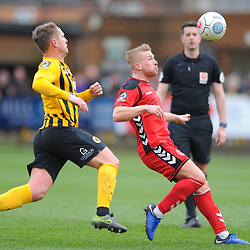 TELFORD COPYRIGHT MIKE SHERIDAN 2/3/2019 - Darryl Knights of AFC Telford holds off Nicky Wroe during the National League North fixture between Boston United and AFC Telford United at the York Street Jakemans Stadium