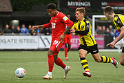 Josh Koroma of Leyton Orient (19) attacks with the ball during the Vanarama National League match between Harrogate Town and Leyton Orient at Wetherby Road, Harrogate, United Kingdom on 22 September 2018.