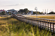 Boardwalk through the marsh at Shem Creek Park in Mount Pleasant, South Carolina.