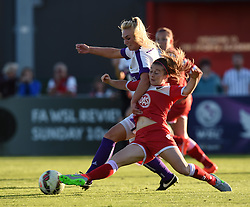 Oxford United's Rosie Lane battles with Christie Murray of Bristol Academy Women - Mandatory by-line: Paul Knight/JMP - Mobile: 07966 386802 - 27/08/2015 -  FOOTBALL - Stoke Gifford Stadium - Bristol, England -  Bristol Academy Women v Oxford United Women - FA WSL Continental Tyres Cup