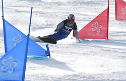 ZHANGJIAKOU, Feb. 24, 2019  Roland Fischnaller of Italy competes during the men's Parallel Slalom final of FIS Snowboard World Cup 2018-2019 in Zhangjiakou of north China's Hebei Province, on Feb. 24, 2019. (Credit Image: © Xinhua via ZUMA Wire)