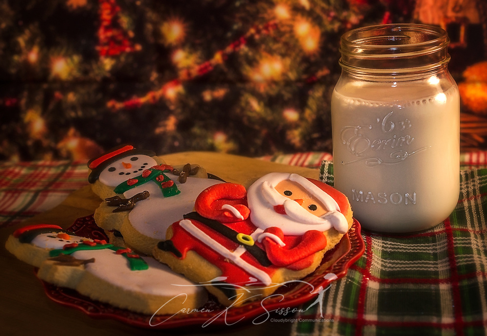 Christmas cookies are pictures beside a Christmas tree, January 7, 2016, in Coden, Alabama. (Photo by Carmen K. Sisson/Cloudybright)