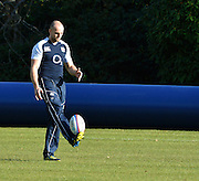 Pennyhill Park. Great Britain,  Charlie SHARPLES, tests his footballing skills before the start of the England squad training session at Pennyhill Park in preparation for the opening game of the 2012 Autumn International Series England vs Fiji, Thursday  08/11/2012  [Mandatory Credit. Peter Spurrier/Intersport Images]