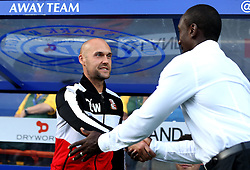 Swindon Town manager Luke Williams and Queens Park Rangers manager Jimmy Floyd Hasselbaink shake hands - Mandatory by-line: Robbie Stephenson/JMP - 10/08/2016 - FOOTBALL - Loftus Road - London, England - Queens Park Rangers v Swindon Town - EFL League Cup