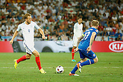 England Forward Harry Kane passes during the Round of 16 Euro 2016 match between England and Iceland at Stade de Nice, Nice, France on 27 June 2016. Photo by Andy Walter.