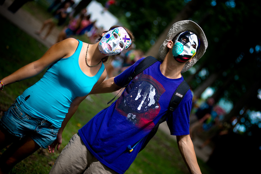 Maria Elizabeth and Gideon Amellcin travelled from Wilmington, NC, to don masks and enjoy the free music and give a little joy.