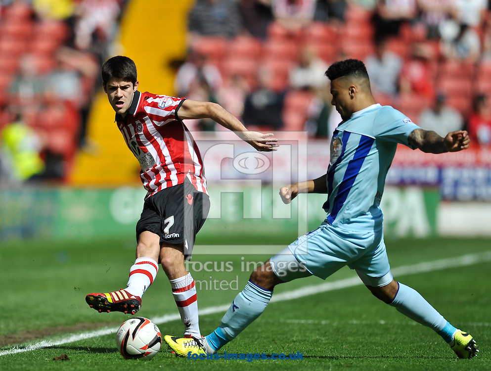 Ryan Flynn of Sheffield United and Jordan Willis of Coventry City during the Sky Bet League 1 match at Bramall Lane, Sheffield<br /> Picture by Richard Land/Focus Images Ltd +44 7713 507003<br /> 03/05/2014