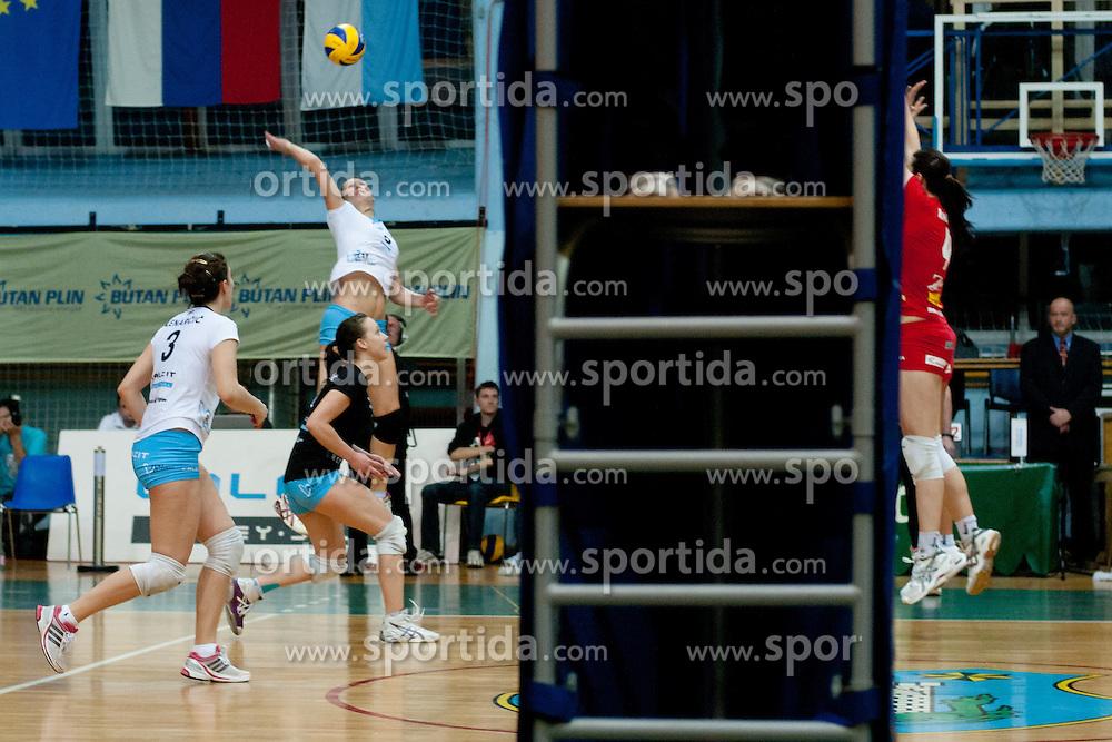 during volleyball match between Nova KBM Branik Maribor and Calcit Kamnik in final game of Slovenia Volleyball Cup, on Januar 4, 2012 at Sportna Dvorana, Kamnik, Slovenia. Nova KBM Branik Maribor won 3:2. (Photo By Matic Klansek Velej / Sportida)