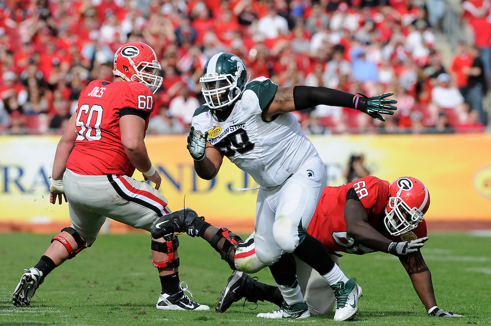 January 2, 2012: Jerel Worthy of Michigan State in action during the NCAA football game between the Michigan State Spartans and the Georgia Bulldogs at the 2012 Outback Bowl at Raymond James Stadium in Tampa, Florida. The Spartans defeated the Bulldogs 33-30.