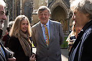 SABRINA STOPPARD; STEPHEN FRY; SIR TOM STOPPARD, Service of thanksgiving for  Lord Snowdon, St. Margaret's Westminster. London. 7 April 2017