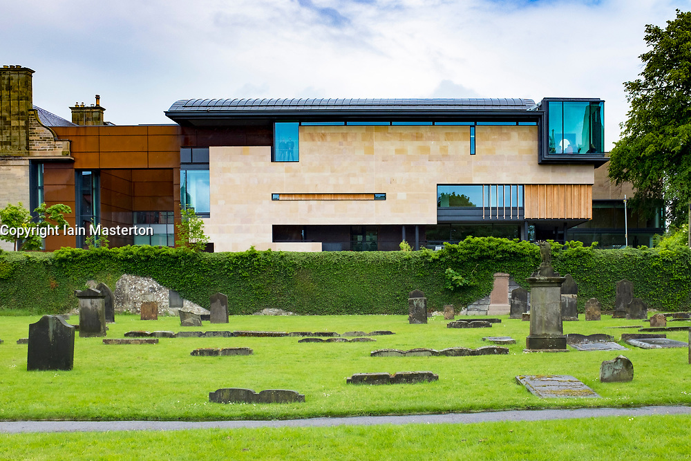 New extension to Dunfermline Carnegie Library & Galleries opened May 2017 in Dunfermline, Fife, Scotland, United Kingdom.