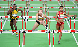 Brianne Theisen Eaton of Canada (C) leads as she compets in the Women's Pentathlon 60 metres hurdles during day two of the IAAF World Indoor Championships at Oregon Convention Center in Portland, Oregon, the United States, on March 18, 2016. EXPA Pictures © 2016, PhotoCredit: EXPA/ Photoshot/ Yin Bogu<br /> <br /> *****ATTENTION - for AUT, SLO, CRO, SRB, BIH, MAZ, SUI only*****