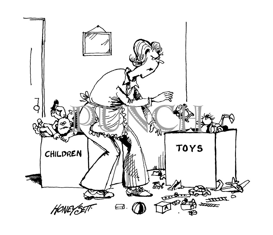 (woman tidying up children and toys into different boxes)