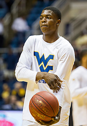 Dec 13, 2015; Morgantown, WV, USA; West Virginia Mountaineers guard Teyvon Myers (0) warms up before their game against the Louisiana Monroe Warhawks at WVU Coliseum. Mandatory Credit: Ben Queen-USA TODAY Sports