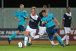 Falkirk's Craig Sibbald and Dunfermline's Josh Falkingham.<br /> Falkirk 2 v 1 Dunfermline, Scottish League Cup, 27/8/2013, at The Falkirk Stadium.<br /> &copy;Michael Schofield.