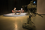 05 OCTOBER 2010 - PHOENIX, AZ: Terry Goddard (CQ) LEFT taped a public affairs show with Dr. Lattie  Coor (CQ) atKAET on the Arizona State University downtown campus. Goddard lost the election to sitting Governor Jan Brewer, a conservative Republican.     PHOTO BY JACK KURTZ